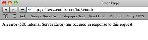 Amtrak Error