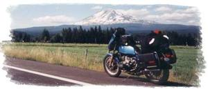 R65 parked with Mt. St. Helens in background
